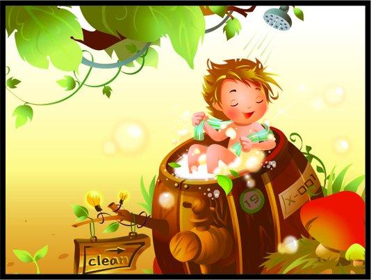 Placa Decorativa Infantil Criança Brincando no Banho