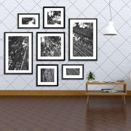 Conjunto de Quadros Árvore em Preto e Branco com Vidro