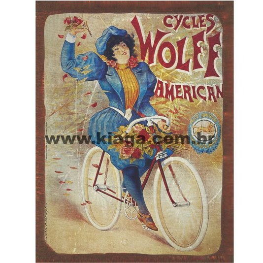 Placa Decorativa Bicicleta Cycles Wolff American