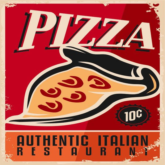 Placa Decorativa Pizza Authentic Italian Restaurant