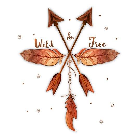 "Placa Decorativa Flechas Frase: ""Wild & Free"""