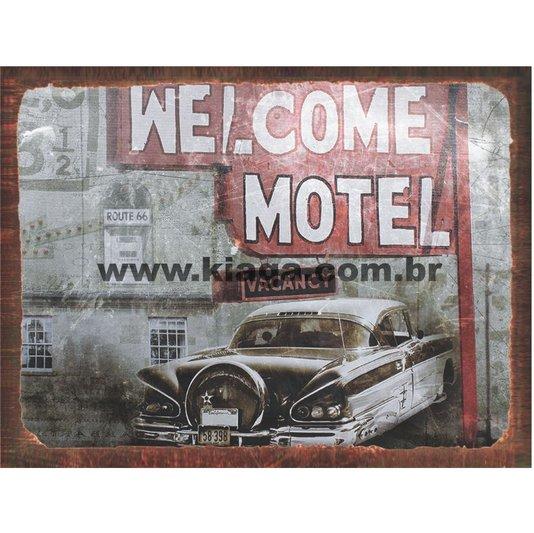 Placa Decorativa Vintage Welcome Motel Vacancy