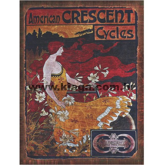 Placa Decorativa Vintage Bicicleta American Crescent Cycles