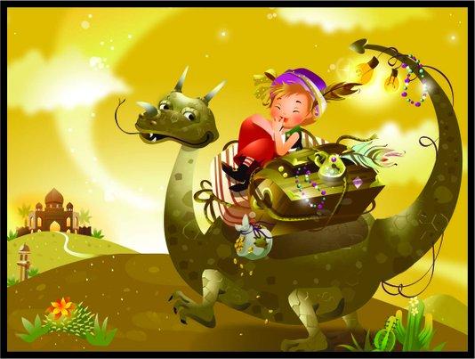 Placa Decorativa Infantil O Dragão e o Duende