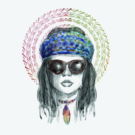 Placa Decorativa Gravura Mulher Colorida