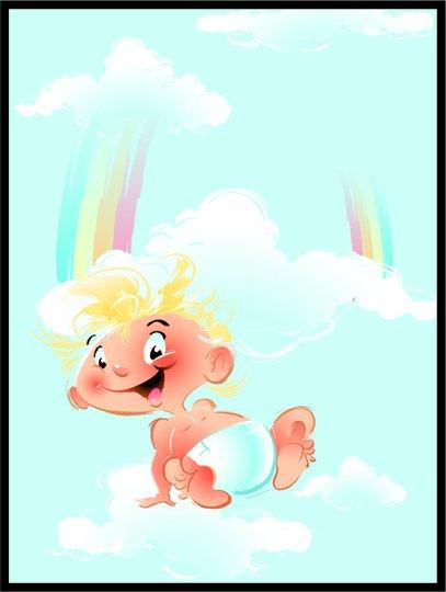 Placa Decorativa Infantil O Bebê e o Arco-Iris