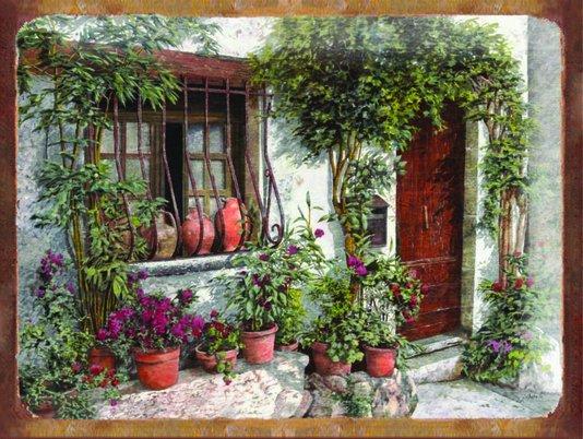 Placa Decorativa Casa Antiga Vintage com Flores