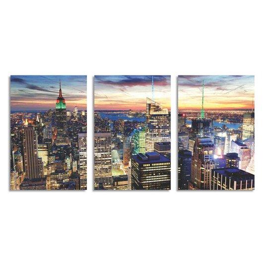 Kit 3 Placas Cidade de Nova York de Cima