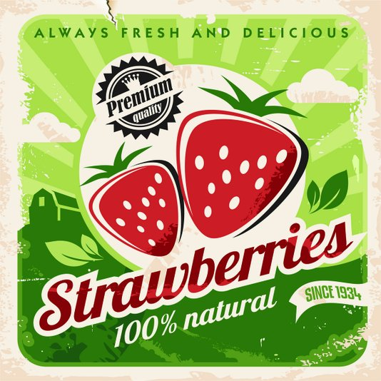 Placa Decorativa Strawberries 100% Natural Since 1934