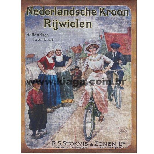 Placa Decorativa Bicicleta Nederlandsche Kroon Rijwielen