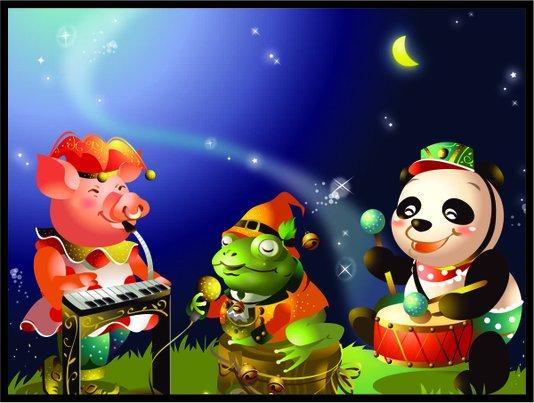 Placa Decorativa Infantil Urso Panda, O Porco e o Sapo