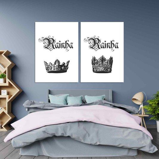 Kit 2 Placas Frase: Rainha e Rainha Preto e Branco