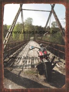 Placa Decorativa Vintage Moto e Ponte