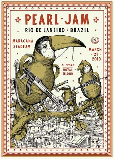 Placa decorativa Pearm Jam Rio de Janeiro 2018 Poster Aves com Metralhadoras