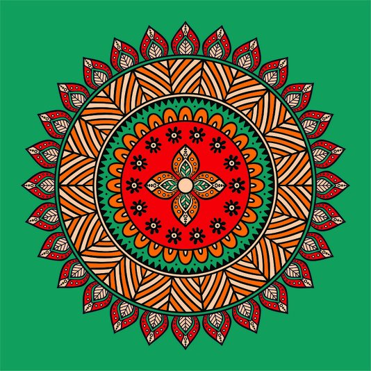 Placa Decorativa Mandala Colorida
