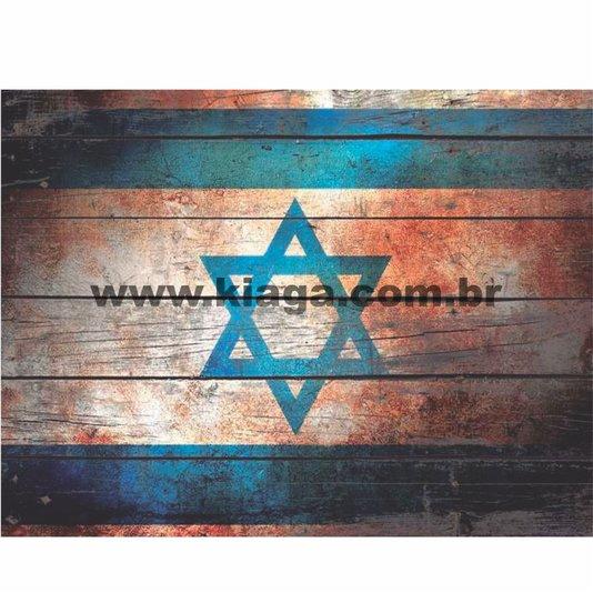 Placa Decorativa Vintage Bandeira de Israel
