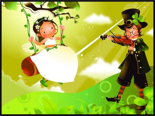 Placa Decorativa Infantil o Violinista e a Princesa