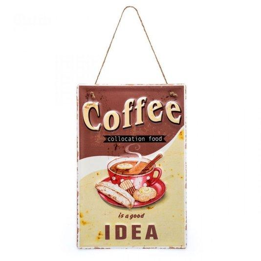 Placa Coffe Idea - Coffe Is A Good Idea - Decoração Casa Retrô - LUDI