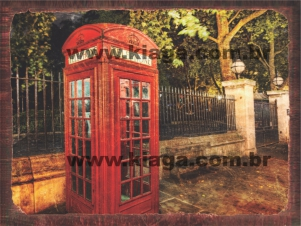 Placa Decorativa Cabine Telephone Londres