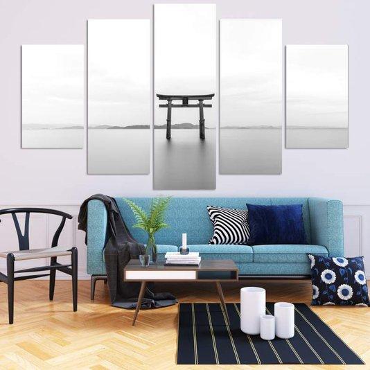 Composição de Placas Torii Japonês Preto e Branco