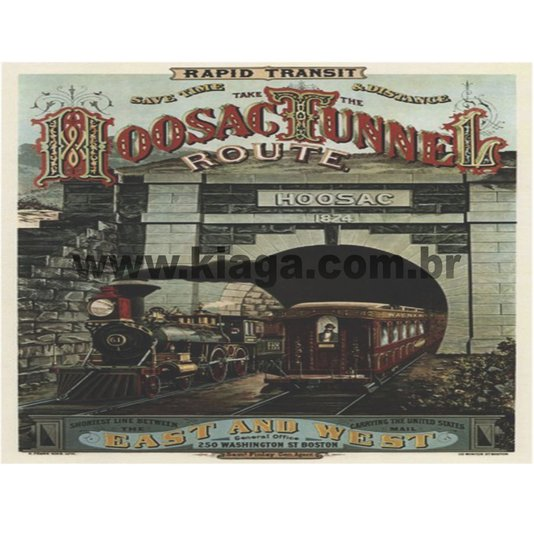Placa Decorativa Trem Hoosac Tunnel Route