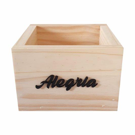 Cachepô de Madeira Pinus com Palavra em Relevo Alegria 15x15x10