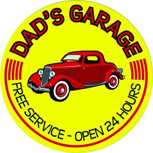 Placa Decorativa Redonda Dad's Garage