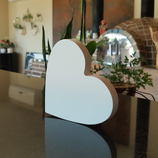 Coração Decorativo 12cm em Mdf Laqueado 15mm - Branco