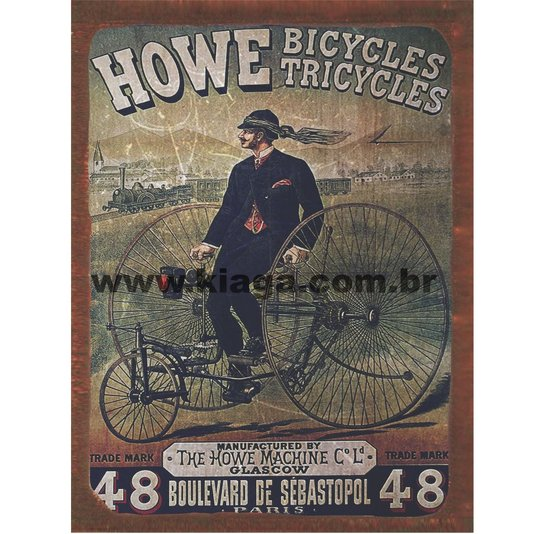 Placa Decorativa Triciclo Howe Bicycles Tricycles