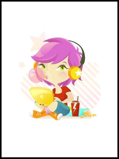 Placa Decorativa Infantil Menina Ouvindo Música