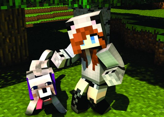 Placa Decorativa Menina e Cachorro Feitos no Minecraft