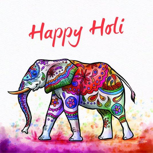 """Placa Decorativa Elefante Mandala Frase: """"Happy Holi"""""""