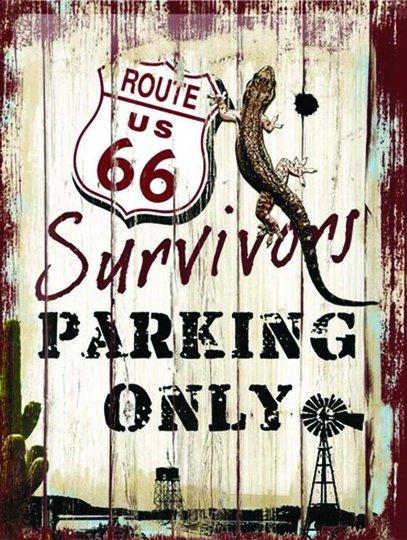 Placa Decorativa Route 66 Survivors Parking Only