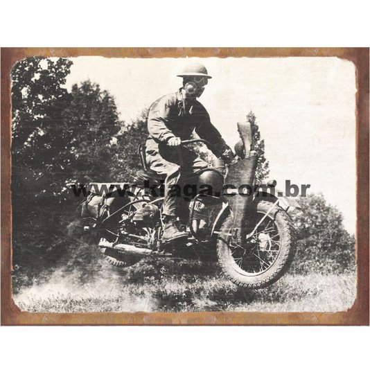 Placa Decorativa Guerra Soldado Moto