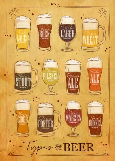 Placa Decorativa Types of Beer