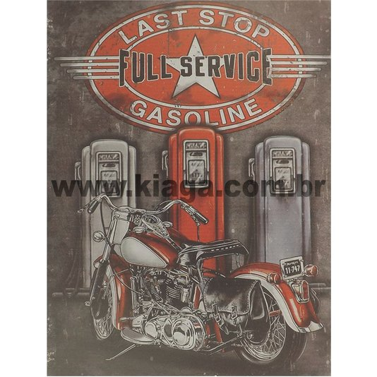 Placa Decorativa Moto Last Stop Full Service Gasoline