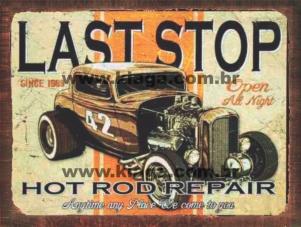 Placa Decorativa Vintage Race Last Stop