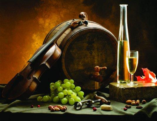 Placa Decorativa Violino Uvas e Vinho