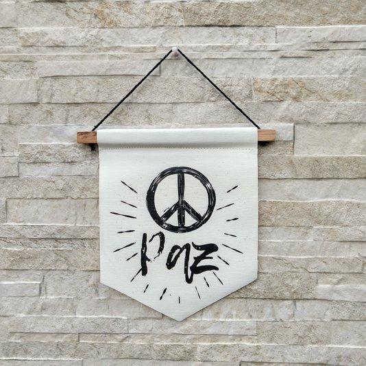 Flâmula Decorativa Símbolo Da Paz Em Canvas K3096