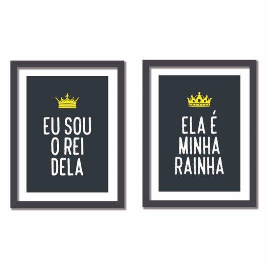 Kit 2 Quadros Ela é Minha Rainha, Eu Sou o Rei Dela