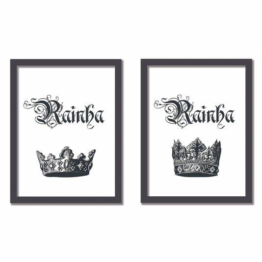 Kit 2 Quadros Frase: Rainha e Rainha Preto e Branco