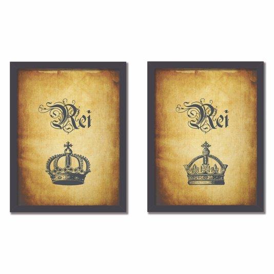Kit 2 Quadros Frase: Rei e Rei Vintage