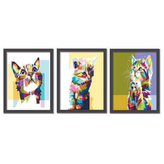 Kit 3 Quadros Gatos Pop Art Colorido
