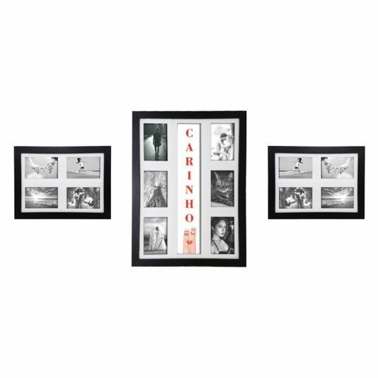 Kit Trio de Quadros Painéis de Parede para 14 Fotos 10x15cm - Dedos Carinho