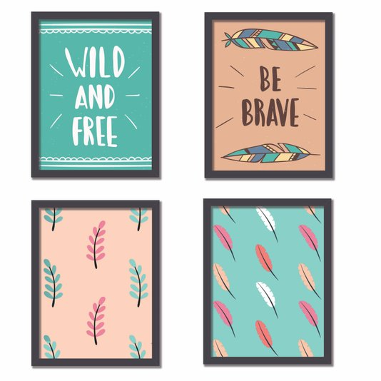 "Kit 4 Quadros Frase: ""Be Brave"", ""Wild And Free"", Boho"