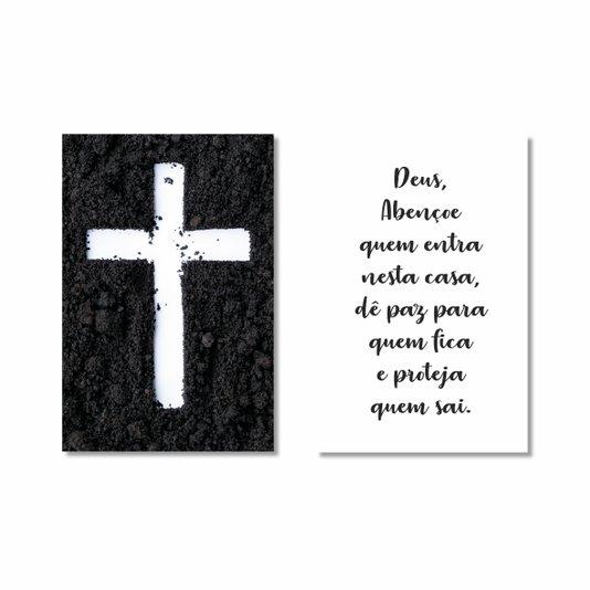 Kit de 2 Placas Decorativas Deus Abençoe Quem Entra Nessa Casa, Dê Paz Para Quem Fica e Proteja Quem Sai