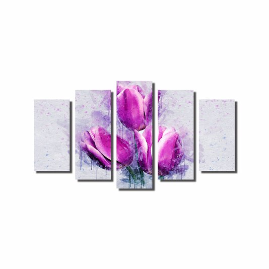 Kit de Quadros Decorativos Flor Ornamental Tulipa Roxa