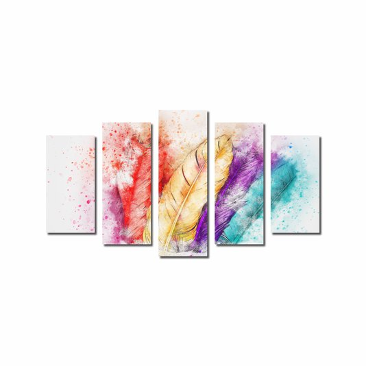 Kit de Quadros Decorativos Penas Coloridas Vibrantes