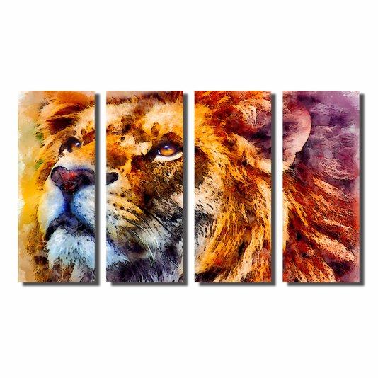 Kit de Quadros Decorativos Pintura Leão Colorido com Juba