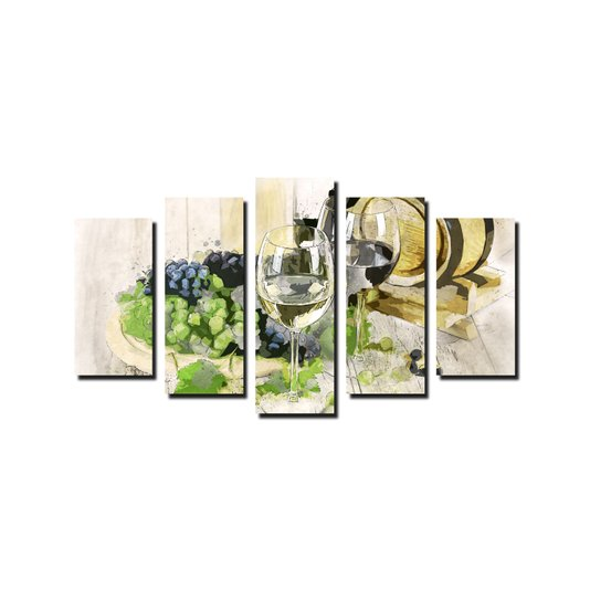 Kit de Quadros Decorativos Uvas Barril e Taças de Vinho